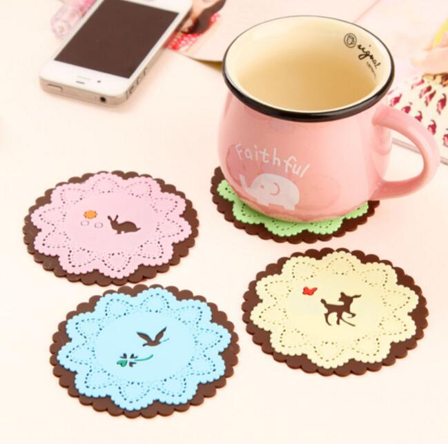 <font><b>Cartoon</b></font> Animal <font><b>Cup</b></font> Mat Silicone <font><b>Coasters</b></font> <font><b>Round</b></font> <font><b>Drink</b></font> <font><b>Coasters</b></font> Lace Stain Resistant Placemat Insulation pad