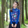 2017 autumn and winter new women's national wind embroidery retro long-sleeved stand collar oblique lapel T shirt