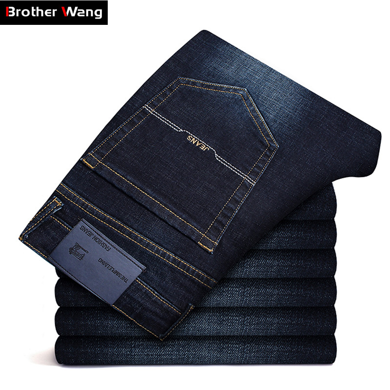 Men's Brand Jeans Classic Style Autumn Winter Business Casual Dark Blue Elastic Straight Denim Trousers Male High Quality Pants