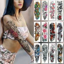 Large Arm sleeve Tattoo Waterproof temporary tattoo Sticker Skull Angel rose lotus Men Full Flower Tatoo Body Art tattoo girl(China)