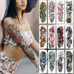 Tatuaje de manga de brazo grande resistente al agua tatuaje temporal pegatina cráneo Ángel Rosa loto hombres flor completa Tatoo cuerpo arte tatto chica