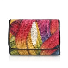 Fancy Colorful Printed Designer Thailand Genuine Stingray Skin Leather Female Short Card Holder Wallet Lady Small Trifold Purse