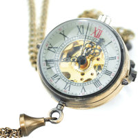 Steampunk Transparent Glass Ball Mechanical Pendant Pocket Watch Chain New P100