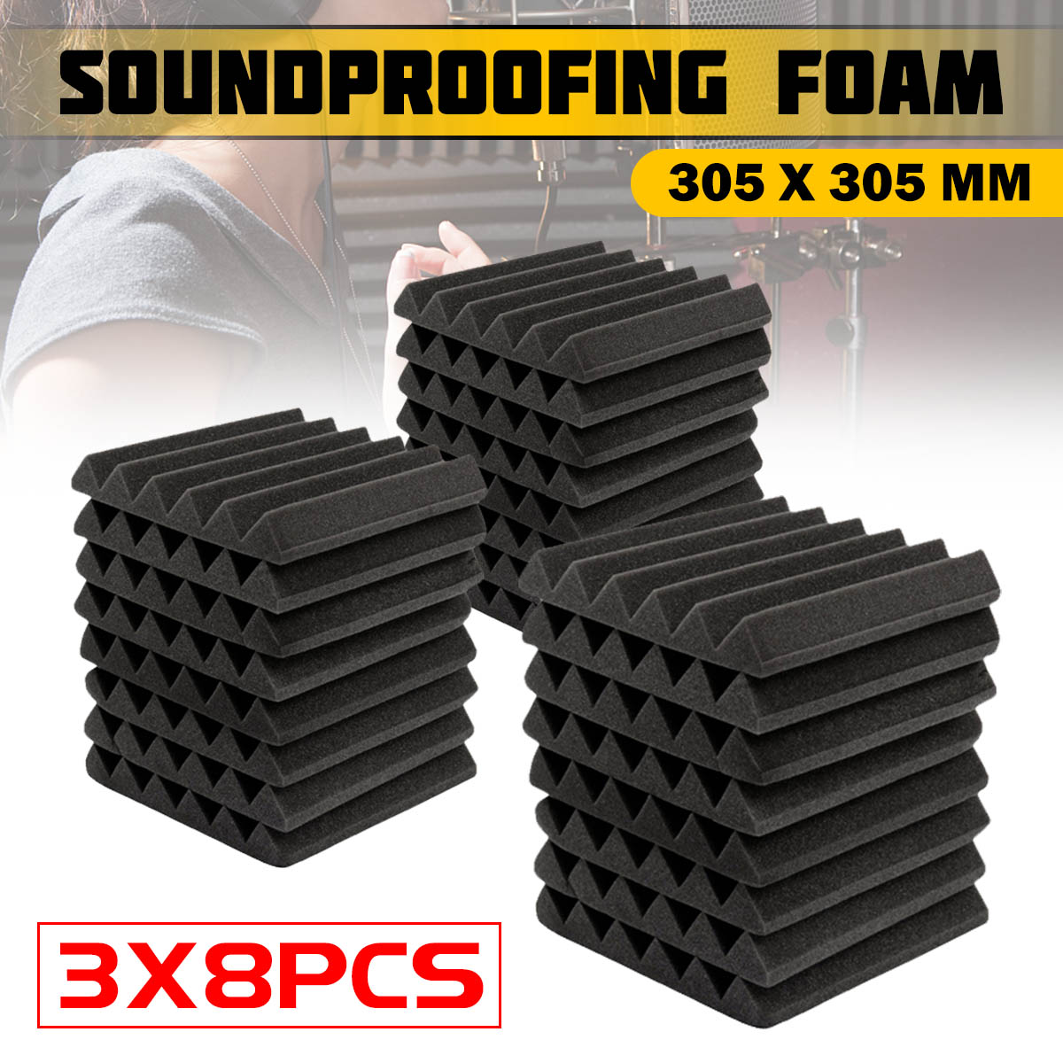 3x8 pièces 305x305x45mm mousse d'insonorisation mousse acoustique traitement du son Studio chambre Absorption carreaux mousse de polyuréthane