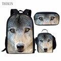 ThiKin 3 шт./компл.  мужской рюкзак  школьные сумки с принтом галактики волка  милые рюкзаки для подростков  мальчиков  детская дорожная сумка дл...