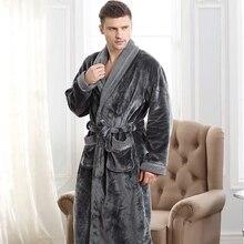 Herbst winter verdickung flanell robe mann korallen fleece bademantel verlängern 5xl plus größe sleepwear langhülse aufenthaltsraum nightgown