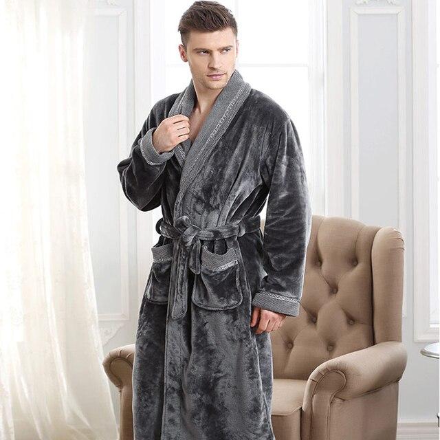 Autumn  winter thickening flannel robe man coral fleece bathrobe lengthen 5xl plus size sleepwear long-sleeve lounge nightgown