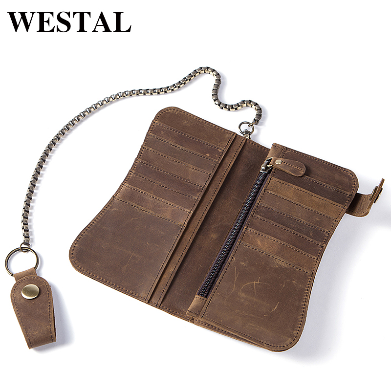 WESTAL Special Strap Genuine Leather Men wallet Men Purse Clutch Men Wallets Fashion Man Wallet Coin pocket Card Holder 8810