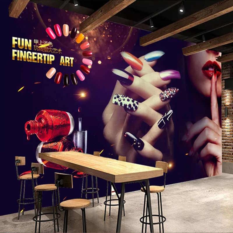 На заказ 3D настенная бумага винтажный макияж ногтей рекламный плакат фото фон настенная бумага декоративное искусство настенные росписи