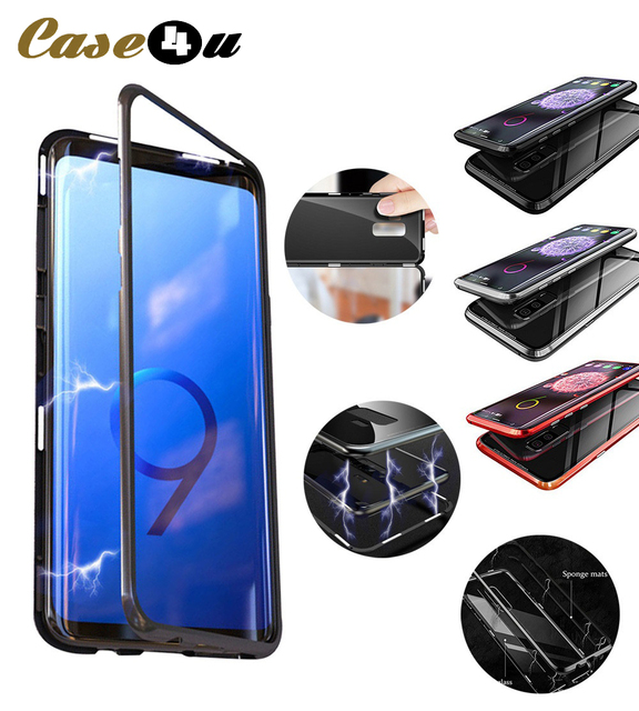 size 40 7f3fc e875e US $7.99 25% OFF|Magnetic Adsorption Metal Case for Samsung Galaxy S9 S8  Plus S7 Edge Note 8 Clear Tempered Glass Back Cover Magnet Bumper Coque-in  ...