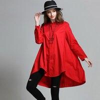 2016 European Design Plus Size Women S A Line Loose Blouse Asymmetrical Spring Autumn Big Size