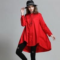 2017 Avrupa tasarım artı boyutu kadın A-line gevşek bluz asimetrik bahar sonbahar büyük boy 4XL kadınlar uzun gömlek siyah kırmızı