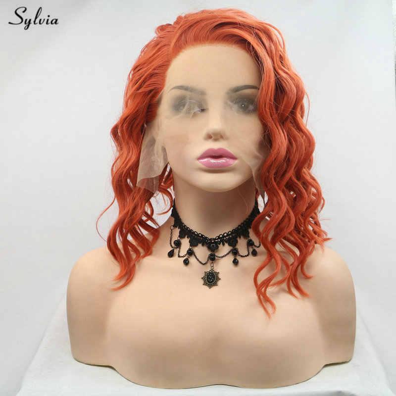 Sylvia оранжевый/пастельный фиолетовый парик с короткими вьющимися волосами боковая часть синтетические парики на кружеве для женщин термостойкие короткие парики для волос