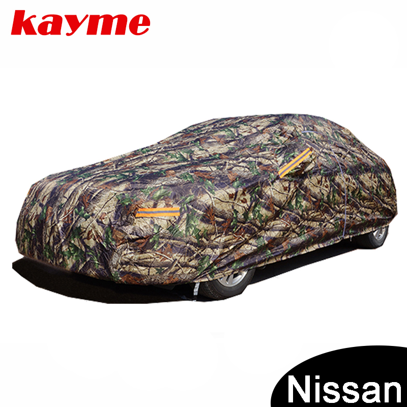 Kayme Camouflage waterproof car covers outdoor cotton sun protection for nissan tiida x-trail almera qashqai juke note наклейки len 2015 nissan qashqai almera juke x tiida primera
