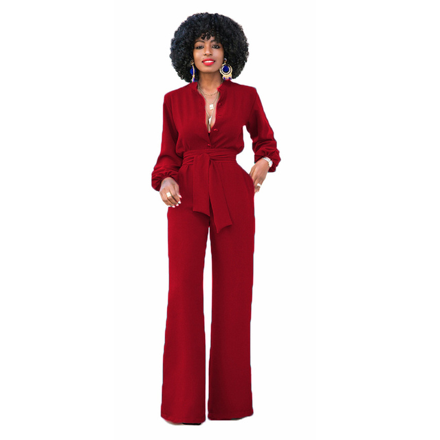 Yjsfg House Sexy Women Jumpsuits Long Sleeves Pants Romper Pure