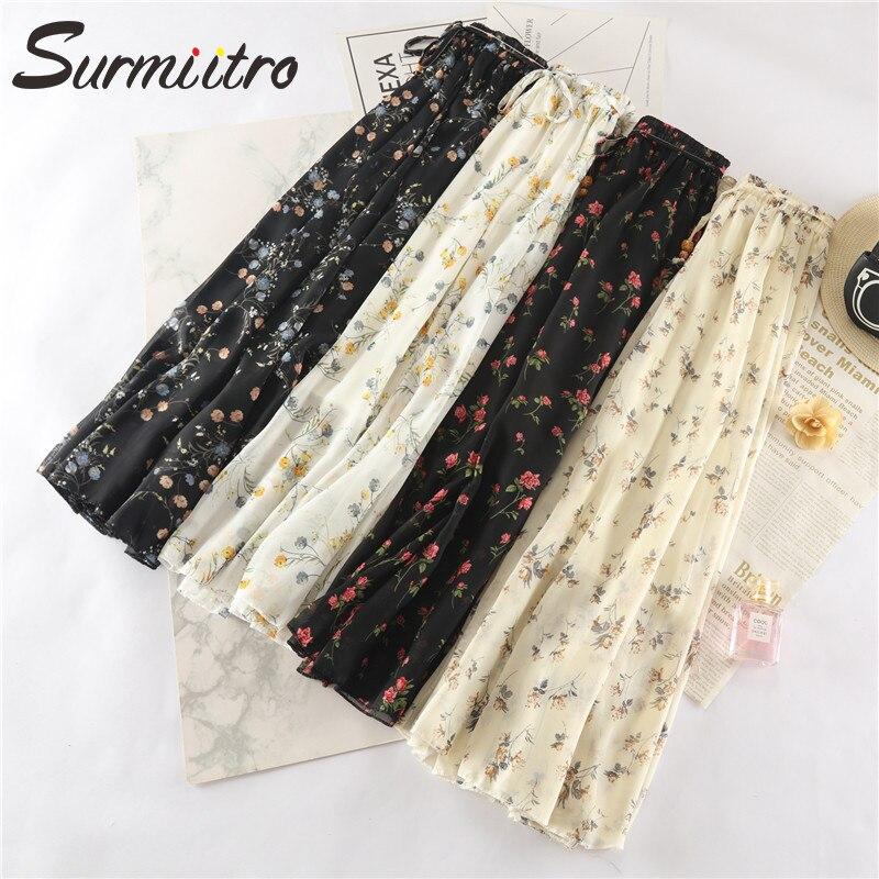 Surmiitro Long Maxi Elegant Summer Skirt Women 2019 Fashion Ladies White Black Floral Print High Waist Sun School Skirt Female