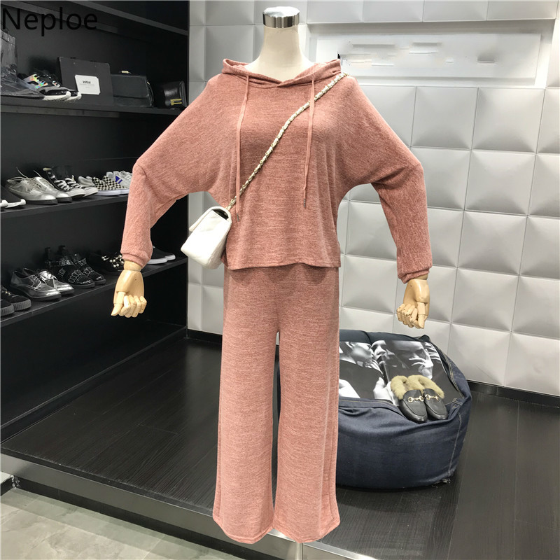 Traje Pantalones Mujeres 43129 De grey Suelto Neploe Manga Sólido pink Jersey Juegos Blue Cintura 2019 Larga Alta Primavera black Nuevas Top Las Piezas 2 8nOOHfwI