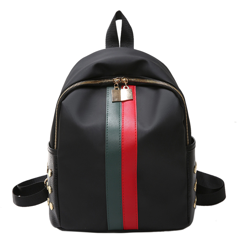 High Quality Waterproof Nylon Women's Backpack Female Striped Shopping Backpack Fashion Rivet Design Women Bag Travel Backpack fashion design women backpack leather star rivet black female youth satchel