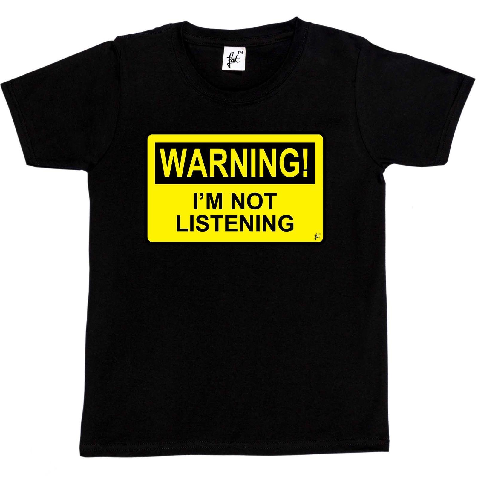 Warning I'm Not Listening Danger Fun Humour Kids Boys  Girls T-Shirt