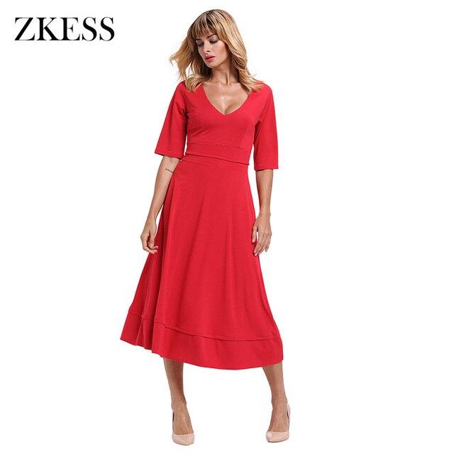 613bdd22e7 Zkess Women Half Sleeve V Neck Flared High Waist Skater Dress Formal Office  Stylish A Line