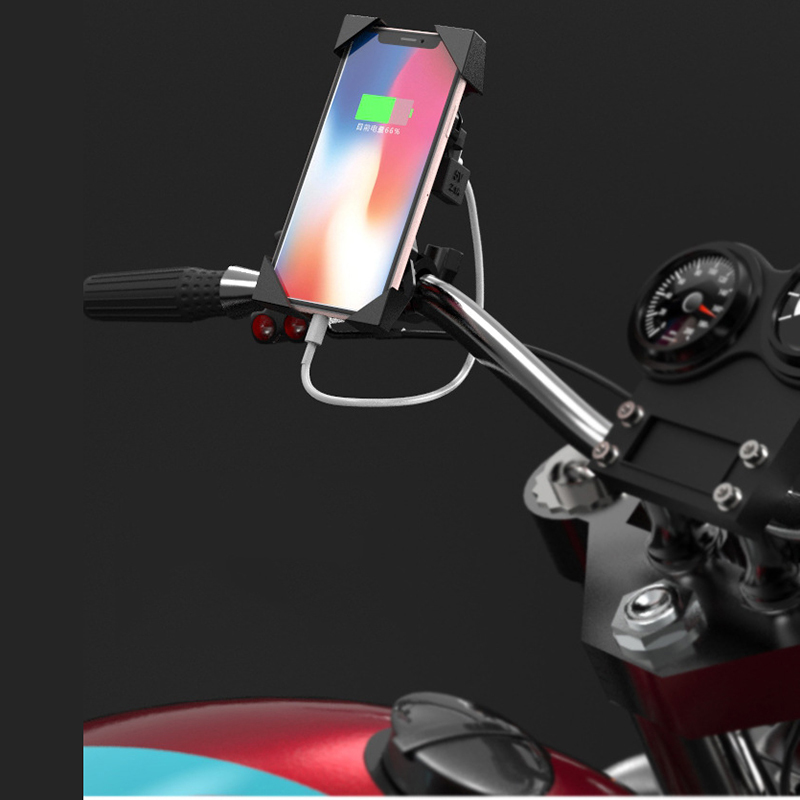ARVIN Motorcycle Phone Fast Charging Holder For iPhone X 8P Moto USB Charger Stand Auto Lock 360 Rotation Mobile Phone GPS Mount in Phone Holders Stands from Cellphones Telecommunications