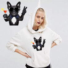 Cocktail French Bulldog Ironing on Heat Transfer Printed Patches Stickers for Clothes T-shirts Washable DIY Appliques