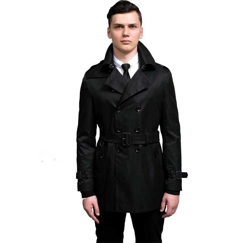 New Arrival 2019 Trench Coat Men Black Fashion clothes Men Brand Windbreaker Men Outerwear Men's Double Button belt Jackets