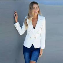 Women Suit Coat Ladies Formal Work Wear Deep V-neck Black White Double Row Buttons High Quality Office Autumn New Clothes