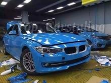 Super! Ultra Brilhante Azul bebê Vinil Adesivo de Vinil De Alto Brilho Wraps para o acondicionamento do veículo Do Carro com bolha livre 1.52×20 m/Roll