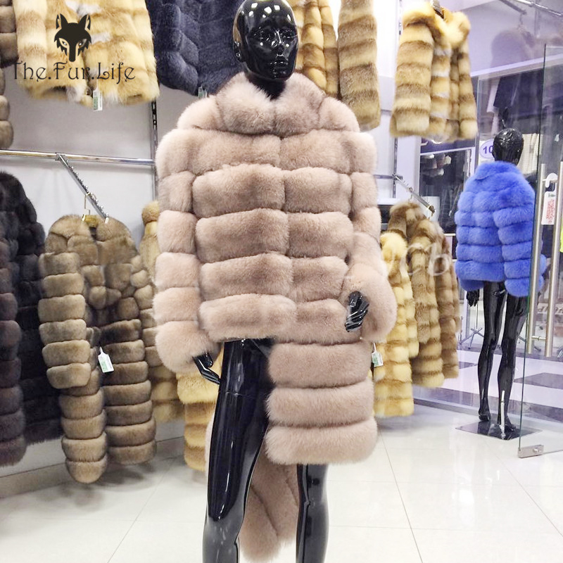 100% Real New Brand  Fox Fur Coat Winter Warm Clothes Fashion Style Real Natural Fox Fur Coat For Women Big Promotion Plus Size