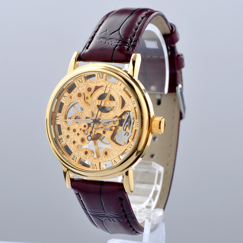 Mce Brand Classic Golden Skeleton Mechanical Watch Men Stainless Steel Strap Top Brand Luxury For Vip Drop Shipping Wholesale Highly Polished Mechanical Watches Watches