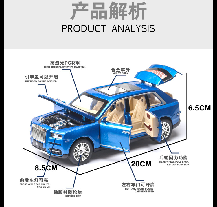 Rolls Royces Cullinan SUV Model Car with Metal Wheels, Sound & Lights 9