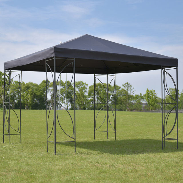 Goplus Patio 10u0027 X 10u0027 Square Gazebo Canopy Tent Steel Frame Shelter Garden  Party