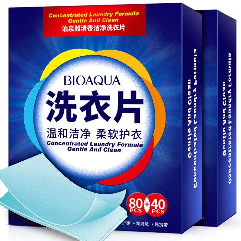 120 stücke BIOAQUA Duft Reinigung Wäsche Tabletten Wäsche Flüssigkeit Papier Waschpulver Seife Weichmacher Waschen Kleidung Hautpflege