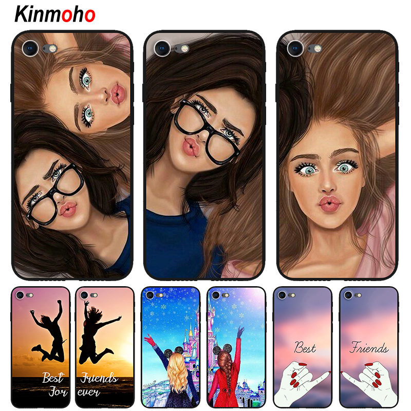 Fashion Girl Best Friend Forever <font><b>BFF</b></font> Phone <font><b>Case</b></font> For Coque <font><b>iPhone</b></font> 7 X XR XS MAX 6 6s 8 Plus 5S <font><b>SE</b></font> Black Matte Soft Cover Capinha image