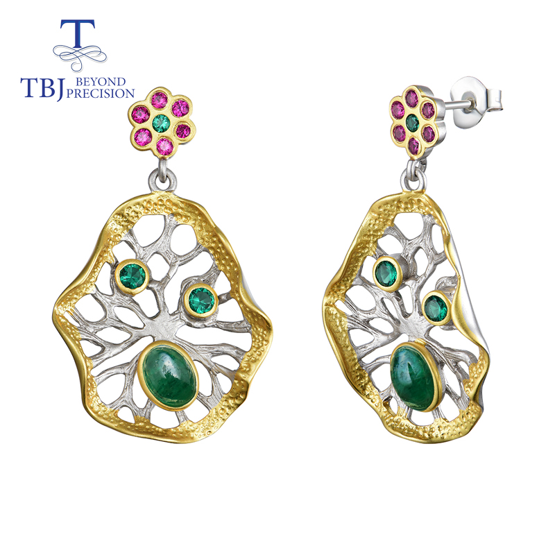 TBJ 2019 new natural emerald earrings Lotus leaf design 925 silver polychromatic elements fashion boutique jewelry