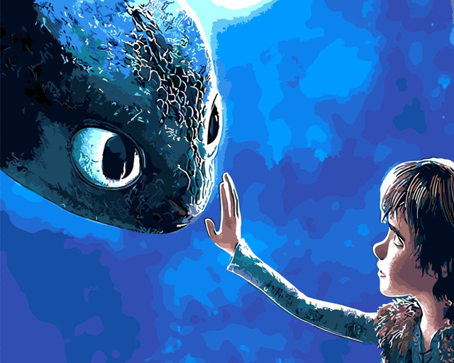 Le immagini dei cartoni animati drago picture pittura a olio per