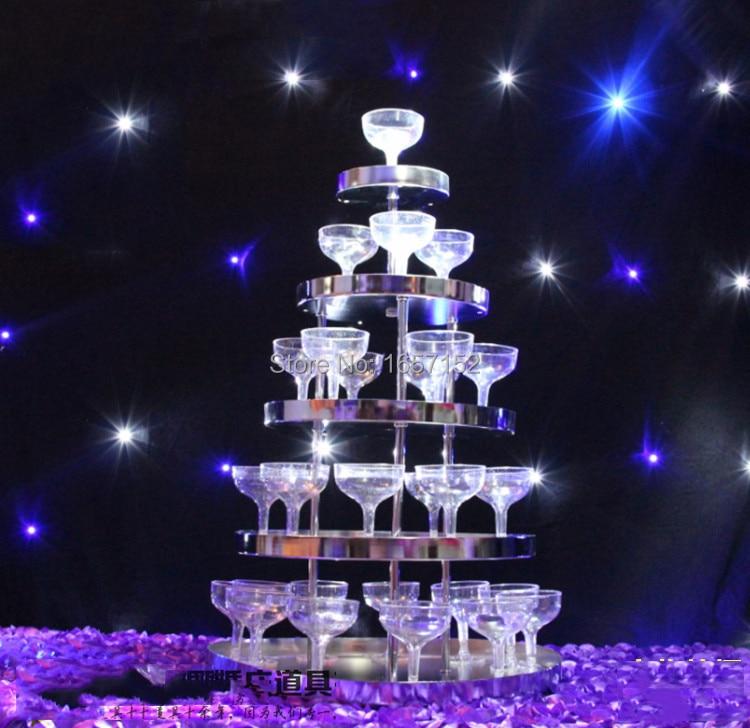 Vino de la boda torre, cinco niveles ronda de acero inoxidable torre de champán,
