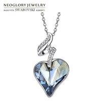 Neoglory Austria Crystal Czech Rhinestone Pendant Necklace Blue Heart Design Platinum Plated Elegant Trendy Style New
