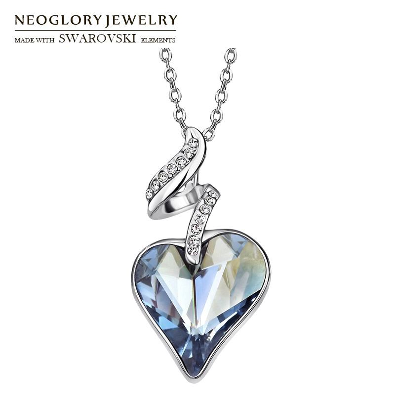Neoglory Austria Crystal & Czech Rhinestone Love Heart Charm Pendant Long Necklace Elegant Romantic Holiday Valentine's Gift цена 2017