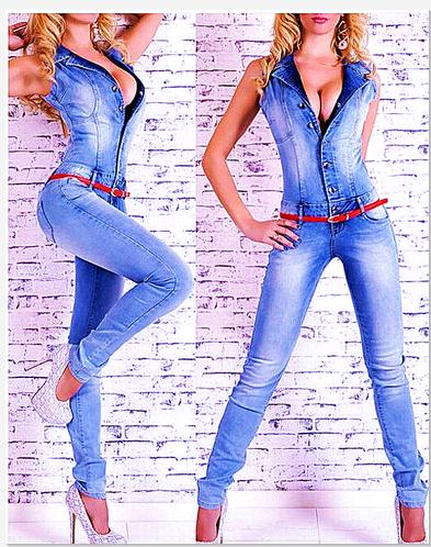 2019 Women Catsuit Jumpsuits Jeans Pant Full Lenth Pants Ladies Sexy Jeans Long Sexy Sleeveless Deep