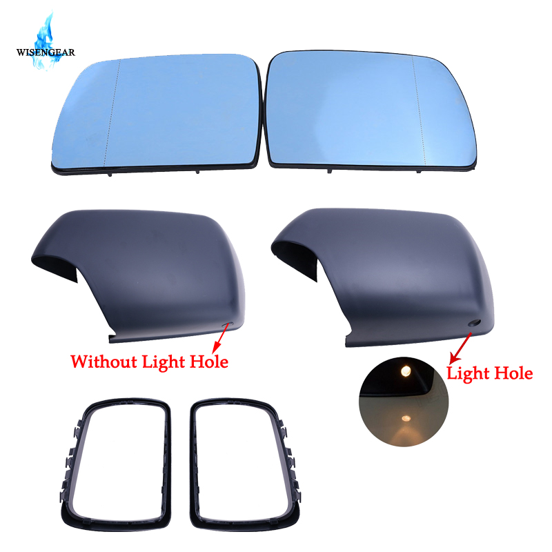 WISENGEAR Blue Wide Angle Rear View Heated Mirror Glass + Glass Cap Cover LED Light Hole Rearview Frame For BMW X5 E53 2000 2006