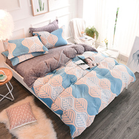 Thick Fleece Fabric Modern Style Leaf Print Bedding Sets Soft Warm Bedclothes Queen King Size 4Pcs