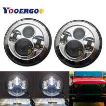 7'' Led Headlight H4 High Low Beam Round Cars Running Lights for Jeep Lada 4x4 urban Niva JK Land rover defender r(China)