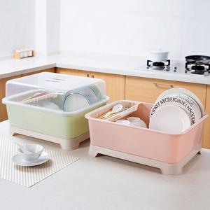 Image 5 - Tableware Container Drain Dust proof Storage Box Home Kitchen Tableware Cutlery Floor Style Storage Rack Bowls Organizer