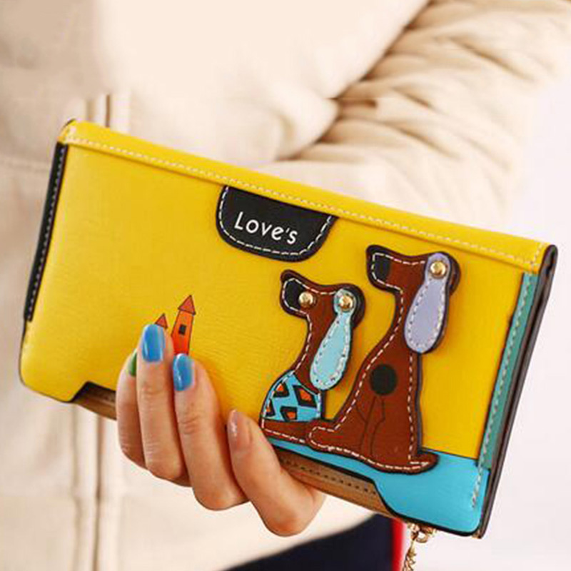 Yirenfang Womens Wallets And Purses Leather Zipper Cartoon Dog Famous Long Money Clip Clutch Wallet Women Luxury Brand Ladies aelicy long clutch women wallet female simple retro owl printing womens wallets and purses luxury brand famous card holders