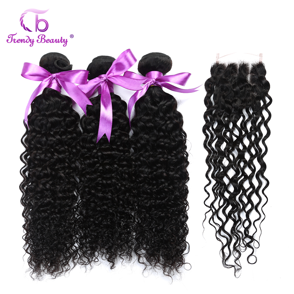 Trendy Beauty Indian Kinky Curly Hair Extensions 3Pcs with Closure Human Hair Weave Bundles Double Weft Natural Color1B Non-remy