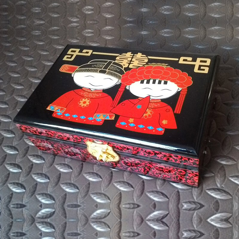 Chinese Pingyao hand push light lacquer china lacquerware  jewelry box or case dressing case  wooden craftsChinese Pingyao hand push light lacquer china lacquerware  jewelry box or case dressing case  wooden crafts