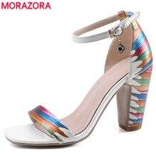 MORAZORA 2020 new arrival moda buty kobieta grube szpilki kobiety sandały pasek z klamrą damskie letnie buty ślubne