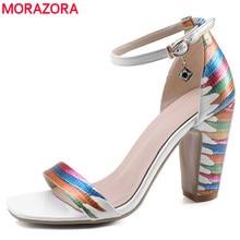 MORAZORA 2020 הגעה חדשה אופנה נעלי אישה עבה גבוהה עקבים נשים סנדלי אבזם רצועת גבירותיי קיץ מסיבת חתונה נעליים